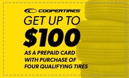 Get up to $100 with purchase of four tires