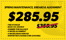 Spring Maintenance, Brakes & Alignment: $285.95
