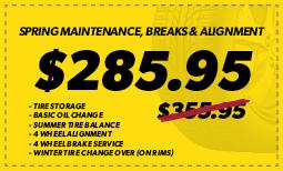 Spring Maintenance, Brakes & Alignment: $285.95