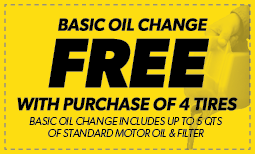 Basic Oil Change FREE with Purchase of 4 tires