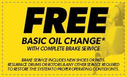 Free Basic Oil Change with Brake Service