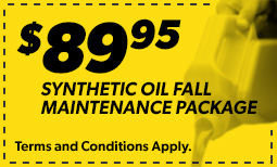 $89.95 Synthetic Oil Fall Maintenance Package Coupon