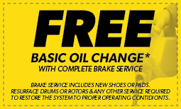 Free Basic Oil Change with Brake Service Coupon