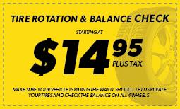 Tire Rotation and Balance starting at $14.95