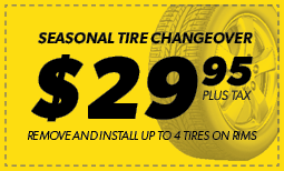 Season Tire Changeover: $29.95