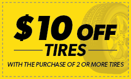 $10 Off Tires with purchase of 2 or more tires