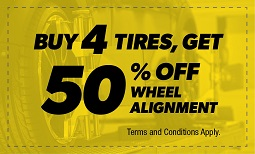 Buy 4 Tires, Get 50% Off Wheel Alignment