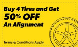 Buy 4 Tires, 50% off Alignment Coupon